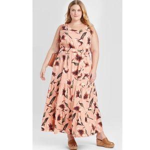 Ava & Viv Sleeveless Tiered Coral Pink Dress 4X